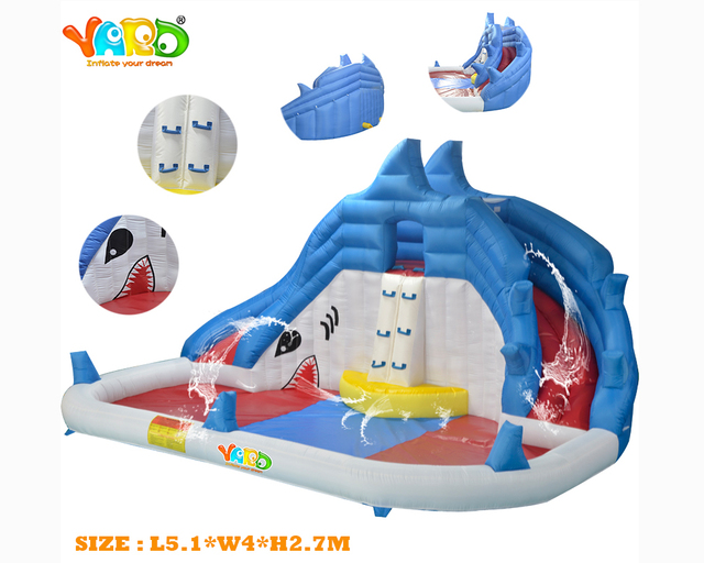 YARD Free Shipping Funny Sharks Playground Bouncy Water Slide Bouncer Giant Happy Water Park Combo