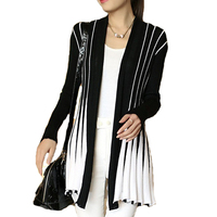 Women S Stripes Cardigans Poncho Female Medium Long Wool Sweater Shawl Knitting SlimThin Cardigan For Female