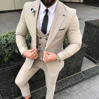 Terno Masculino Slim Fit 2018 Beige 3 Pieces Set Men Suit With Pants Plain Designer Tuxedo Wedding Suits For Men Costume Homme