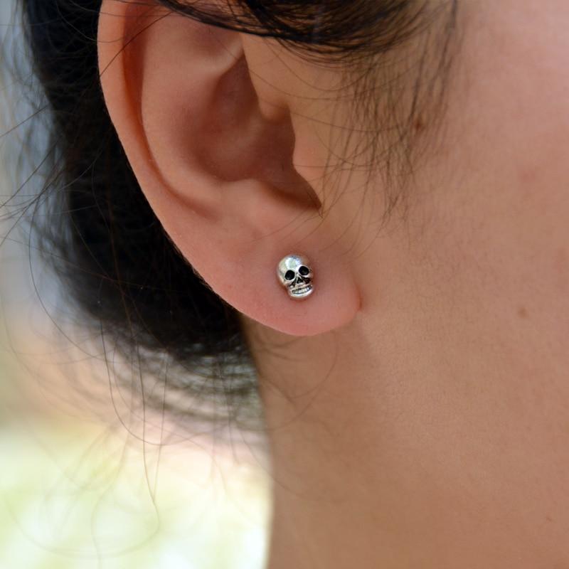 1pair Vintage Dainty Skulls Earrings Hip-Hop Stud Earrings Vintage Rock Skeleton Earrings Jewelry For Women Men Dropship Earring