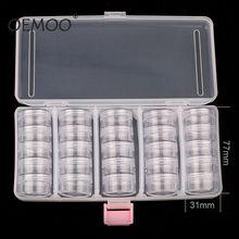 Caixa vazia transparente 190*95mm (com 25 peças pequena caixa) caixa para arte em unhas, caixa com glitter removível para armazenar unhas e strass