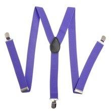 NIBESSER Men Women Clip-on Elastic Suspenders Candy Color Y-Shape Adjustable Braces Solid Suspenders Fashion Clothes Collocation