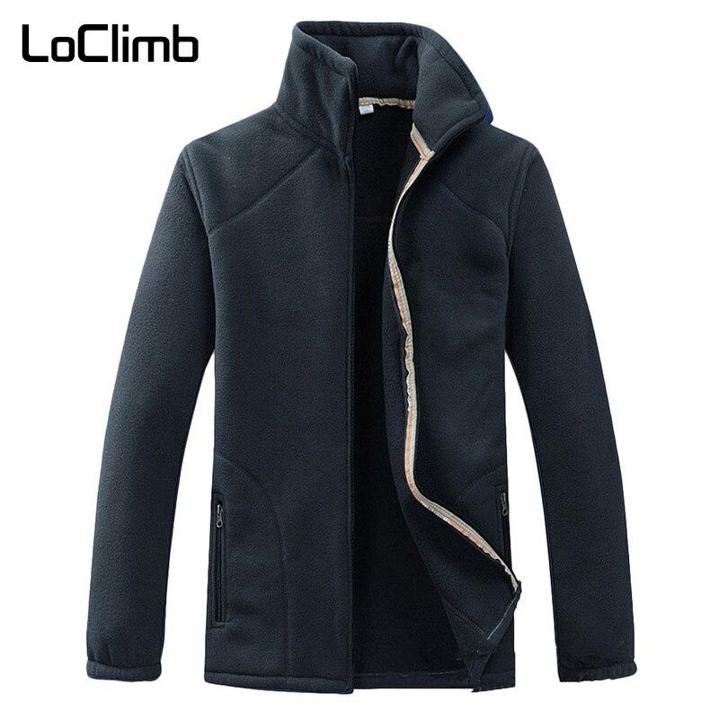 LoClimb Men's Winter Camping Hiking Jacket Men Outdoor Sports Coats Male Climbing Trekking Fishing Ski Fleece Jackets AM210
