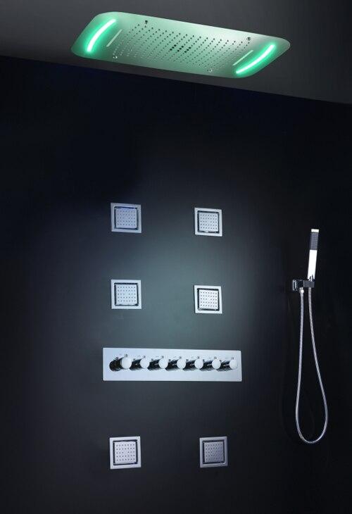 Душевой кран для ванной комнаты, набор водопада, смеситель для ванны, душевая панель, потолочный светодиодный душевой наконечник, термостатическая система для ванны и душа - Цвет: With Body Jet