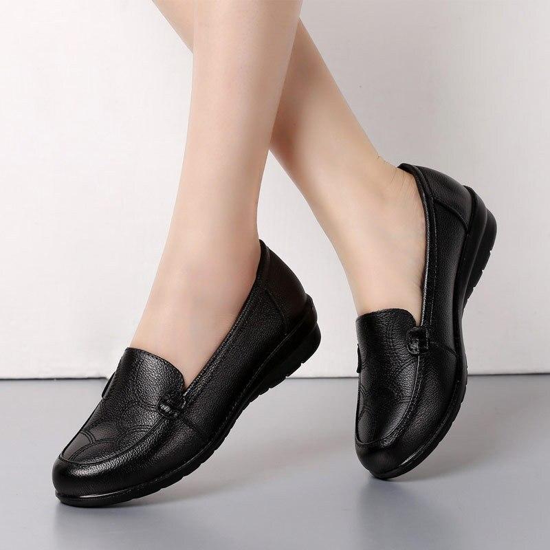 Souple Plat Non Shoese147 Cuir Moyen Snurulan Casual Confortable À Semelle Femmes D'âge Simples Mère Dames slip En Chaussures Noir wBAqIB1W
