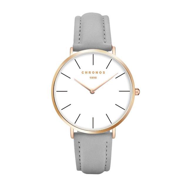 Chronos 1898 Men Women Leather Strap Quartz Watch Case Unisex Couple Watches Lar