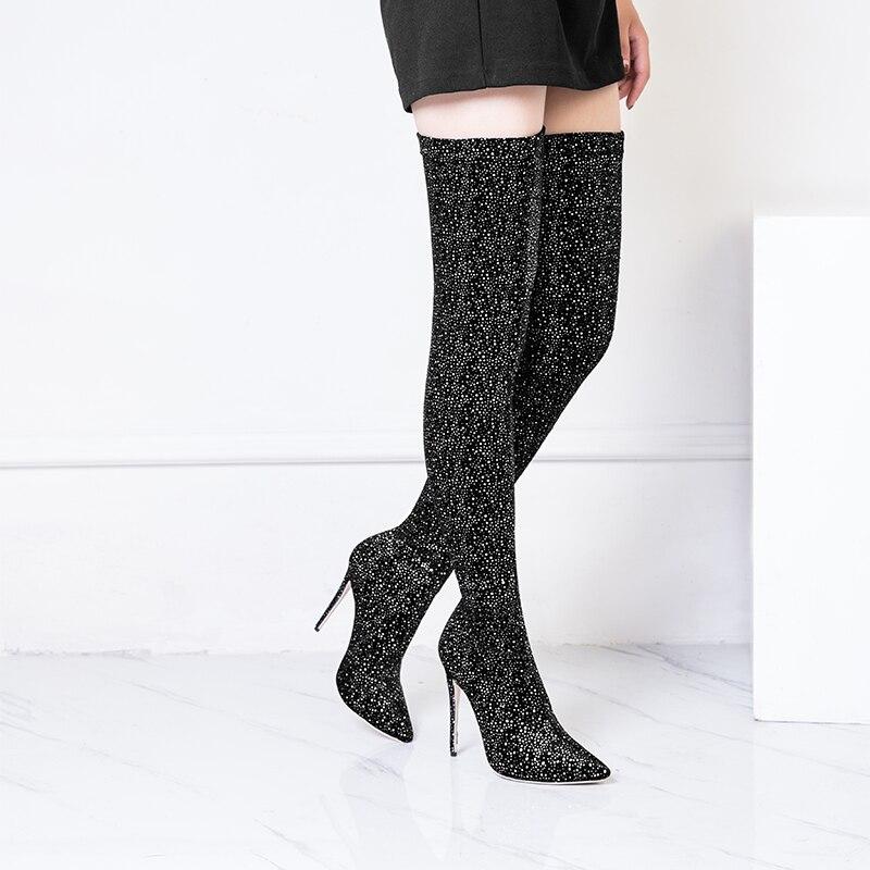 Mujeres Short Bling Black Mstacchi Del Lentejuelas Las Elástico Botas Long Punto Boots Lujo De Boots Tejido Brillo Calcetines black Alto Tacón Pie Dedo Mujer q0qSHw4xt