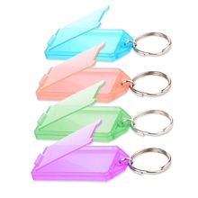 Portable note memo 20Pcs Tough Plastic Key Tags with Split Ring Label Window Assorted Colors for students