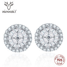 Viennois 925 Silver Stud Earrings White Fashion Earring for Women Jewelry