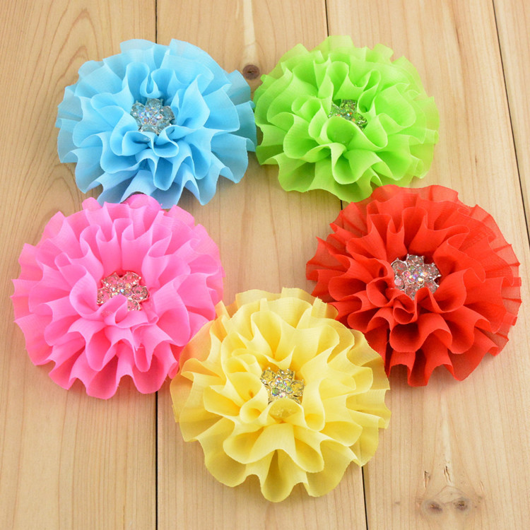 100pcs lot 3 54 Ballerina Chiffon Flowers with Rhinestone Fabric Flower DIY Garment Accessories FH46