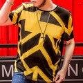 Plus Size camisa Dos Homens T de Algodão de Manga Curta Geométrica Ocasional 6XL 7XL 2016 New arrivals O Neck Verão Tamanho Grande Mens Tees t16043