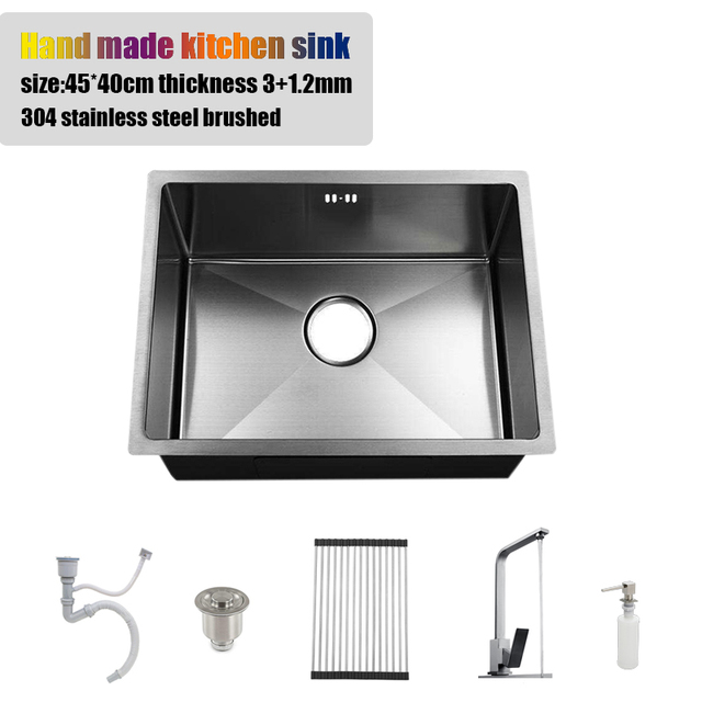 4540cm Undermount Stainless Steel Kitchen Sink Single Bowl Hand Made 177 Water