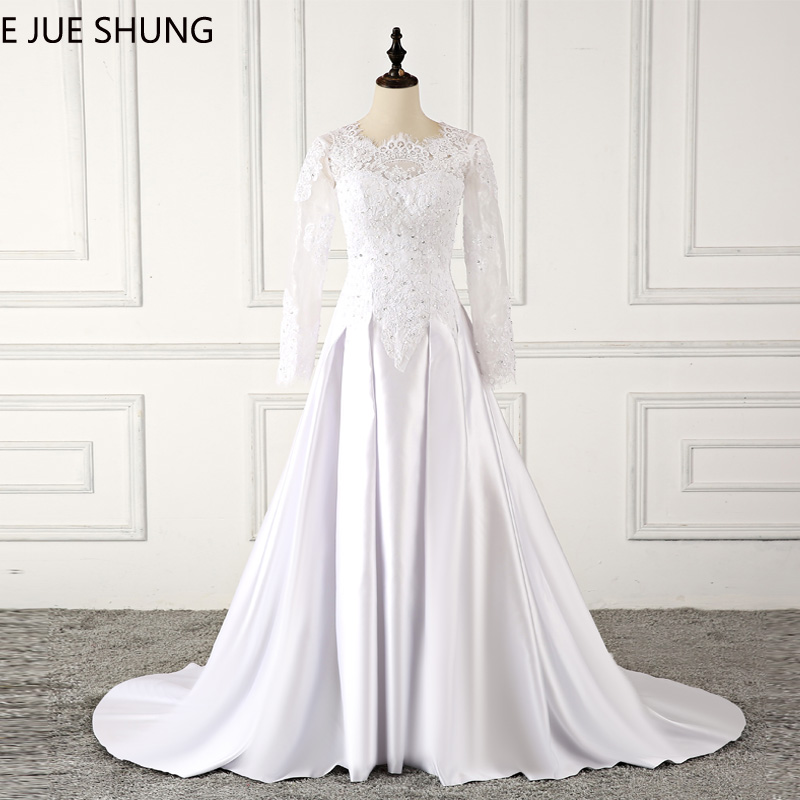 E JUE SHUNG White Vintage Lace Appliques Beaded Wedding Dresses Long Sleeves Bridal Dresses Wedding Gowns