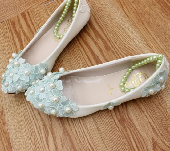 ФОТО Flat heel blue lace flower party shoes for woman TG474 ankle pearls straps 100% real photo handmade ladies girl flats paty shoe