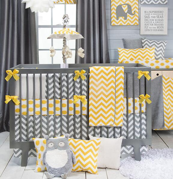 Dark Yellow Striped 7 Pieces Set Crib Baby Bedding Sweet Chevron Nursery Per Quilt Ed Sheet 100 Cotton In Sets From Home