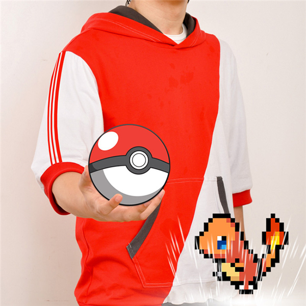 2017 New Clothing Made Anime Pokemon GO Game T-shirt Cosplay Half Sleeve Red White Mix Hooded T-shirt