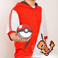 2017 Nuovi Vestiti Made Anime Pokemon GO Gioco T-Shirt Cosplay Mezza Manica Rosso Bianco Mix T-Shirt Con Cappuccio