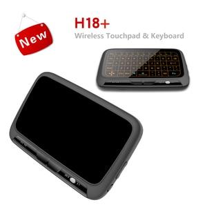 Image 5 - H18 + ワイヤレスエアマウスミニキーボードフルスクリーンタッチ 2.4 2.4ghz の Qwerty キーボードとタッチパッドためのバックライト機能スマートテレビ PS3