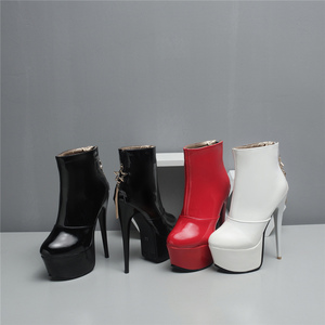 Image 4 - Sexy High Heels Ankle Boots For Women Shoe Fashion Platform PU Leather Short Boots White Red Party Fetish Shoes Large Size 45 47