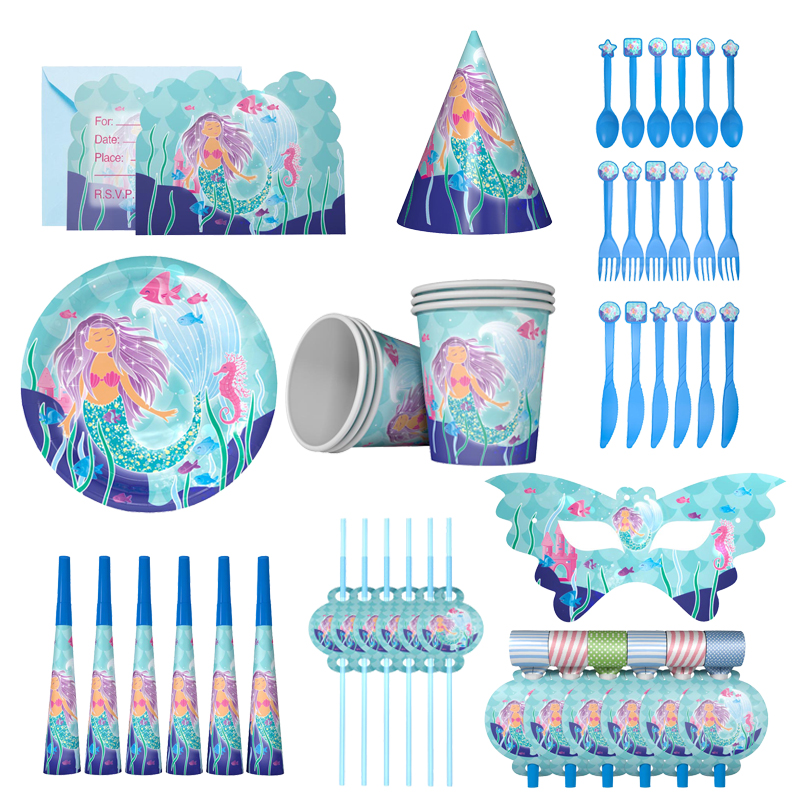 Mermaid Party Supplies Happy Birthday Garland Bunting Banner Balloon Tableware Cake Toppers Baby Shower 1st Birthday Party Decor in Party DIY Decorations from Home Garden