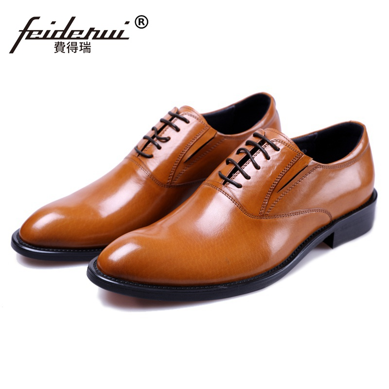 Hot Sale Man Quarter Brogue Wedding Shoes Genuine Leather Banquet Oxfords Round Toe Lace up Men's Formal Dress Flats JS144 foreada genuine leather shoes women flats round toe lace up oxfords shoes real leather casual boat shoes brown pink size 34 40