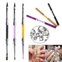 ELECOOL 3 Adet/1 Takım Nail Art Kalem Fırça Akrilik Çift Kafa UV Jel Lehçe Boyama Kristal kalem tutucu manikür Aracı