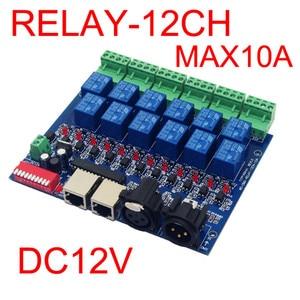 Image 2 - 12CH ממסר מתג dmx512Controller RJ45 XLR, ממסר פלט, DMX512 ממסר שליטה, 12way ממסר מתג (max10A) עבור led