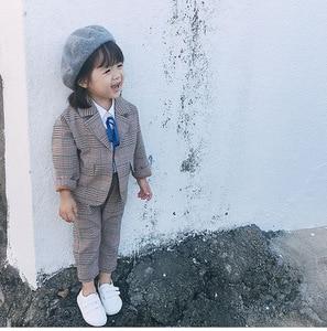 Image 1 - Spring Autumn Kids Blazer for Girls Casual Plaid Shirts Jacket Pants Toddler Girls Suits 2 3 4 5 6 Years Toddler Baby Clothing