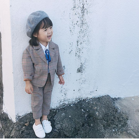 Spring Autumn Kids Blazer for Girls Casual Plaid Shirts Jacket Pants Toddler Girls Suits 2 3 4 5 6 Years Toddler Baby Clothing