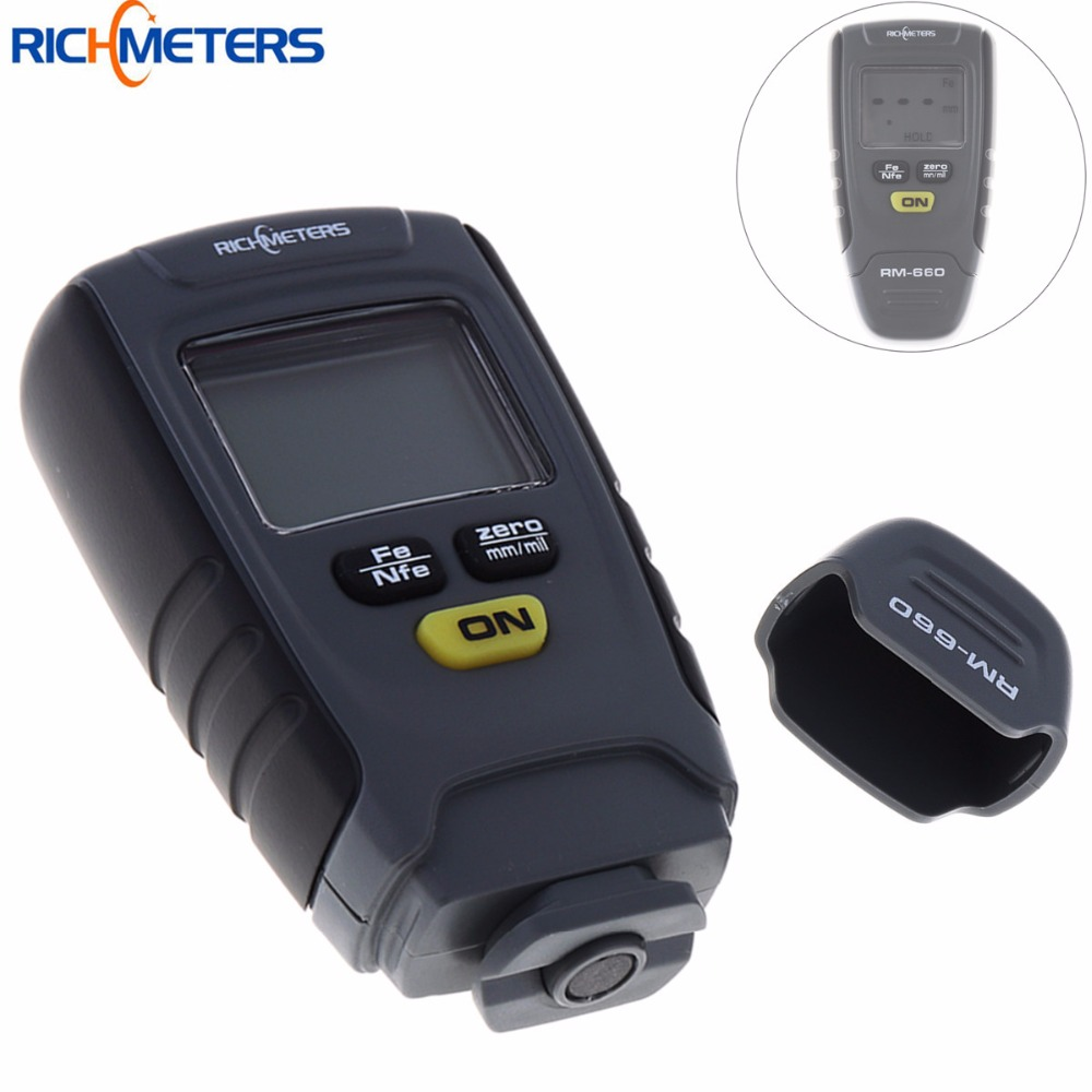 RM660 Digital Paint Coating Thickness Gauge LCD Feeler Gauge Tester Fe /NFe 0-1.25mm for Car Instrument Iron Aluminum Base Metal