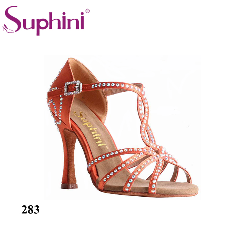 Free Shipping Suphini Rhinestone Woman Salsa Shoes Shine Orange Salsa Dance Shoes Beautiful Dance Shoes цена