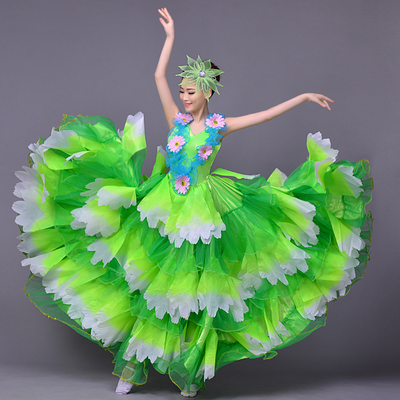 Petal flower stage skirt sexy long dress female costume singer dancer nightclub bar fashion  show performance Chinese style