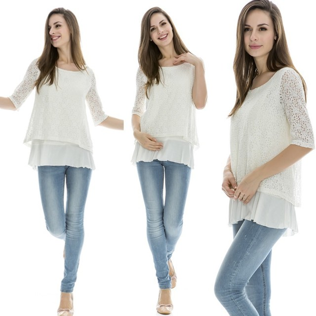 MamaLove 3/4 Sleeve Lace Maternity Clothes Maternity Tops Nursing top Breastfeeding tops pregnancy Clothes for Pregnant Women