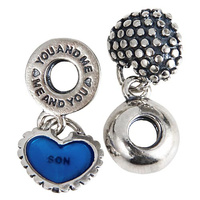 Mother And Son Pendants Antique Tone Authentic 925 Sterling Silver Dangle Charm Beads With Screwed Threaded