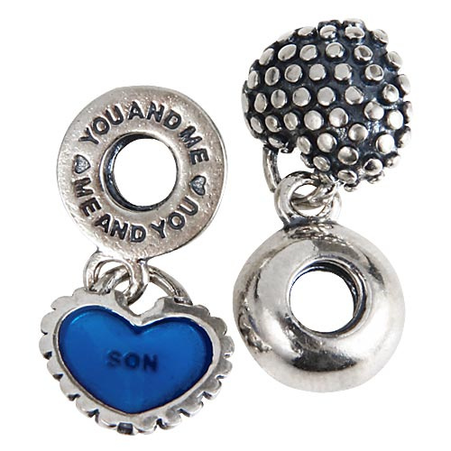 Mother And Son Pendants Antique Tone Authentic 925 Sterling Silver Dangle Charm Beads With Screwed Threaded Hole SDC920