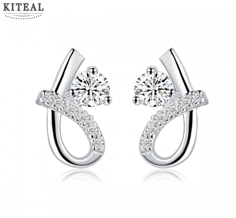 Hot sale! silver earing S shape white stone stud pendientes to us bear men jewelry SMTE537