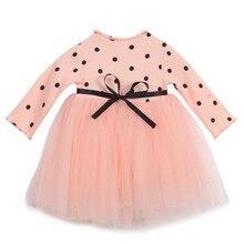 Милое летнее платье принцессы для новорожденных девочек бальное платье с бантом платье с длинным рукавом вязаное кружевное Тюлевое платье-...