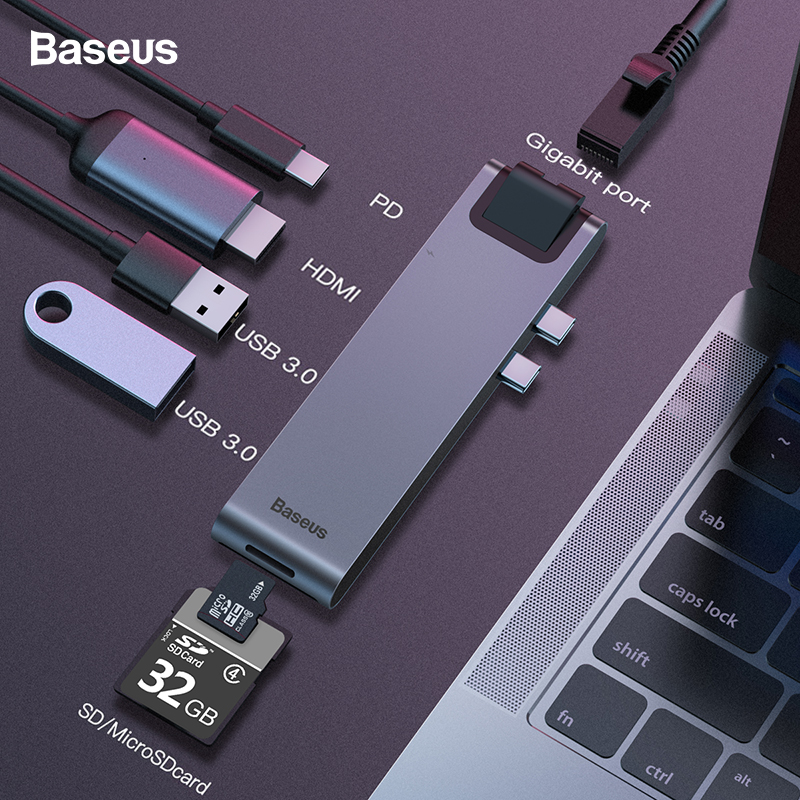 Baseus USB HUB Dual USB C USB 3,0 HDMI SD Card Reader RJ45 адаптер PD зарядки USB-C концентратор для MacBook Pro 2016/2017/2018