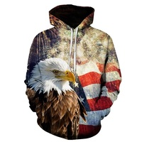 GEagle Print3D Hoodies Men Sweatshirt Fashion American Flag Hooded Sweats Tops Hip Hop Unisex Pullover Sudadera