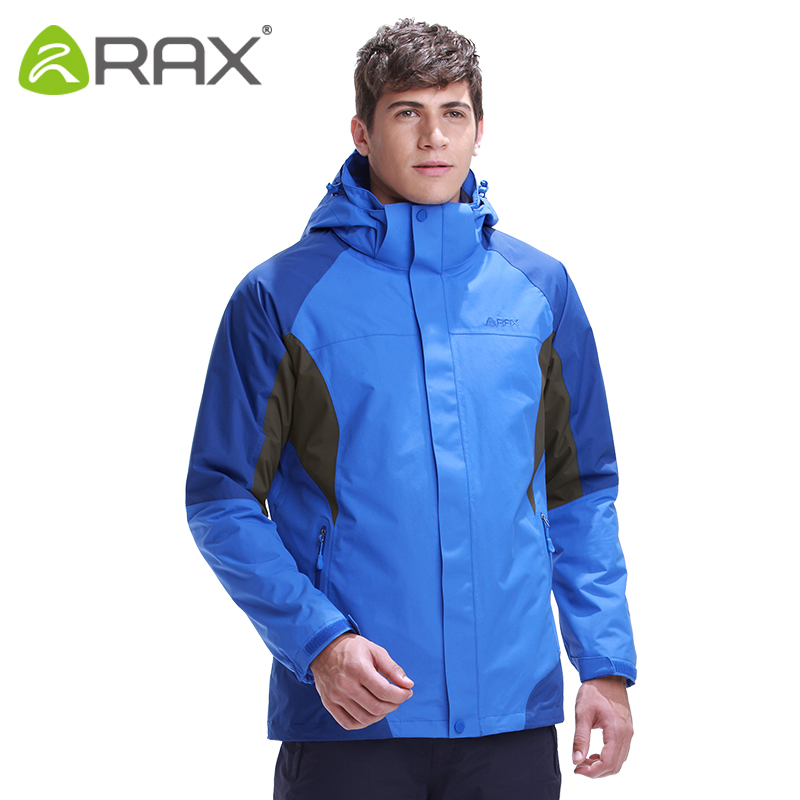 RAX Hiking Jackets Men Softshell Jacket Waterproof Windproof Hiking Jacket 3 in 1 Outdoor Windbreaker Warm Women Coat 43-1A039 sale winter windproof waterproof outdoor jacket men softshell women sportswear warm camping hiking jackets antistatic male coat