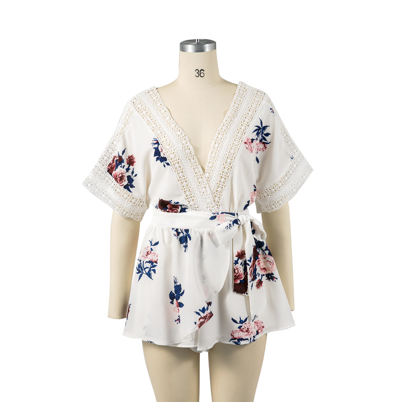 Summer jumpsuit 2017 casual print womens clothing chiffon lace rompers womens jumpsuit sexy halter women rompers