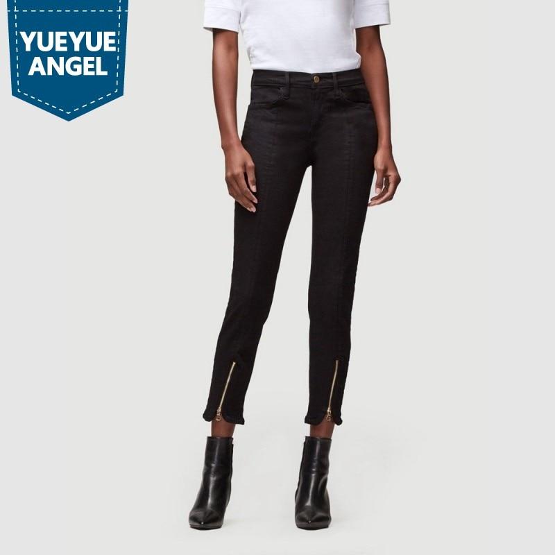Европейская мода, черные узкие джинсы на молнии спереди, Женский уличный стиль деним, длина по щиколотку, узкие брюки, зимние теплые джинсы ...