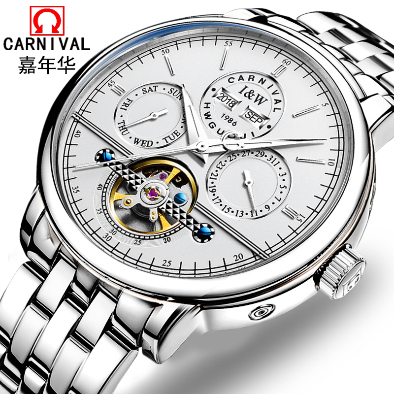 Switzerland Carnival Top Brand Luxury Mens Watches Automatic Mechanical Watch Men Sapphire reloj hombre Luminous Clock C8724G-1 switzerland automatic mechanical men watch reloj hombre wrist sapphire waterproof military mens watches top brand luxury b6036