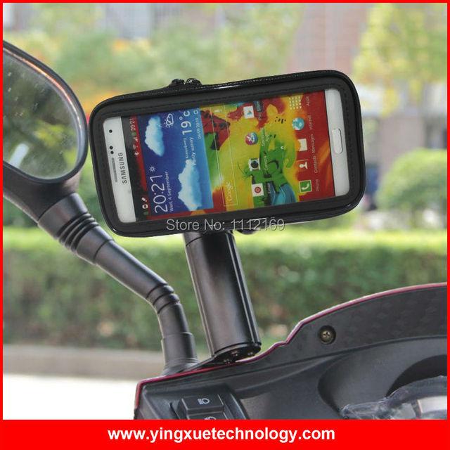 Универсальный Водонепроницаемый Мотоцикл Зеркало Заднего вида Держатель Мобильного Телефона Мешок Горе Стенд Телефон Чехол для Samsung Galaxy Note