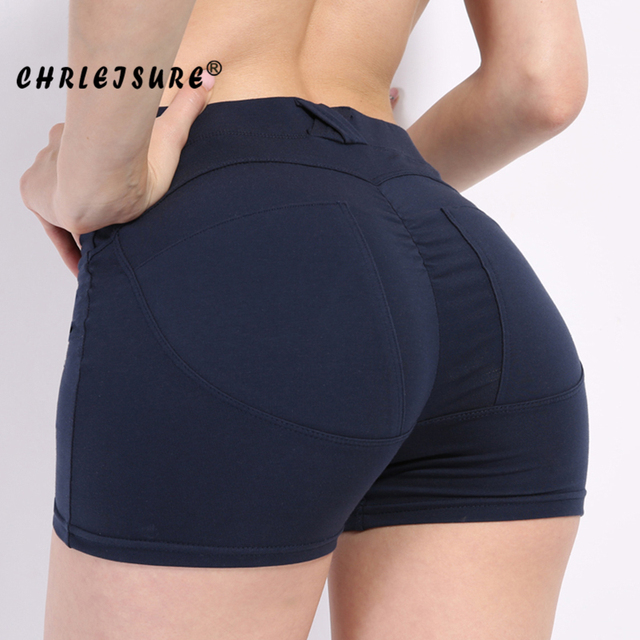 dccc31392a ... Yoga Clothes Gym Clothes Shop; CHRLEISURE Sexy Push Up Shorts Women Mid  Waist Cotton Fitness Shorts Skinny Elastic Shorts Workout Shorts ...
