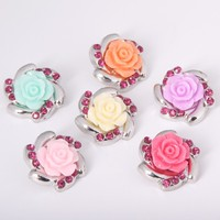 10PCS/Lot New Colorized Rhinestones Flower Metal Snap silver Mixed Color Snaps watch Jewelry Fit Bracelet&Bangle