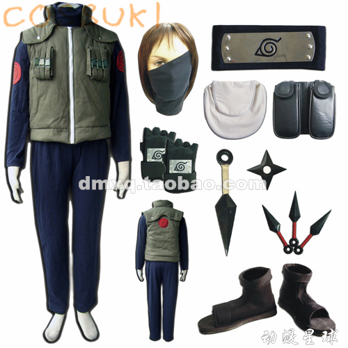 Free Shipping Newest Stock Naruto Hatake Kakashi Full Set Cosplay Costume Suits Perfect Custom For you