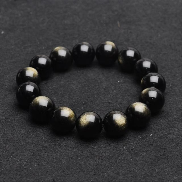 Atacado 14mm Genuine Natural Ouro Obsidian Rodada Contas Pulseiras Para As Mulheres Poderosas Sorte Estiramento Charme Homens Pulseira