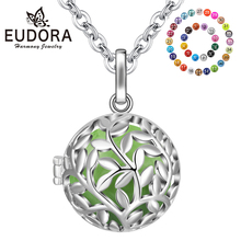 EUDORA 20mm Harmony bola ball Tree of life Cage Pendant necklace & 1pcs chime DIY Creative jewelry For pregnant woman K314