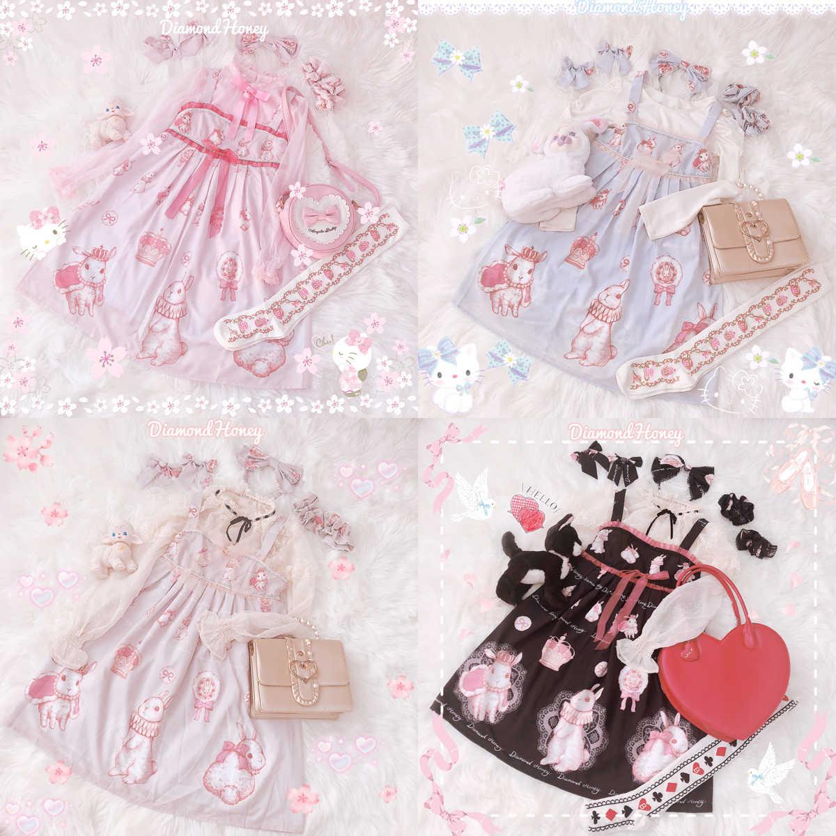 Crown rabbit print bonito feminino lolita jsk vestido de princesa sem mangas vestido suspender laço guarnição arco uma peça 4 cores